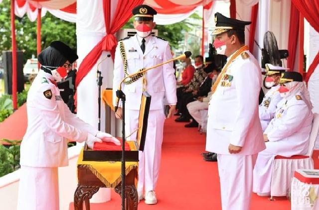 Peringatan HUT Ke 76 Kemerdekaan RI Tahun 2021, H. Ansar Ahmad Bertindak Sebagai Inspektur Upacara Bendera